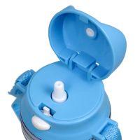 Бутылка для воды пластик с голубая крышкой с ремешком и носиком под полиграф вставку 460 мл