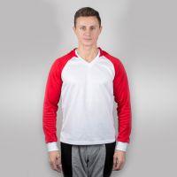Футболка мужская с красными дл рукавами и капюшоном — 52 (XXL)