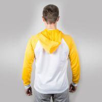 Футболка мужская с желтыми длинными рукавами и капюшоном — 50 (XL)