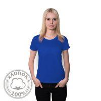 Футболка женская хлопок синий 50 (XL)