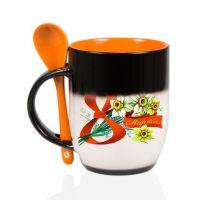 Кружка керамика хамелеон черная внутри оранжевая с ложкой стандарт 330мл