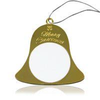 Подвеска колокольчик металл золото с двумя вставками для сублимации D40мм 74,5х74.5мм