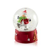 Шар водяной Снеговик с подсветкой с хлопьями снежинки 65x65x85мм D65