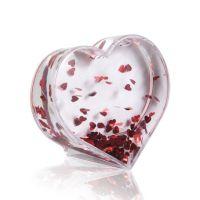 Шар водяной в форме сердца с хлопьями в виде сердечек 90х95мм премиум