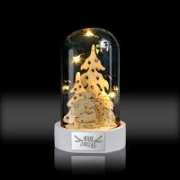 Стеклянные декор-купол с фигуркой Дед Мороз и три ёлки с подсветкой 70x70x120мм