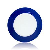Тарелка керамика белая с орнаментом синий край 200мм