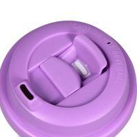 Термостакан пластик белый с пурпурной крышкой 500мл
